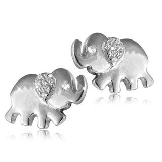 Sterling Silver White Topaz Elephant Stud Earrings