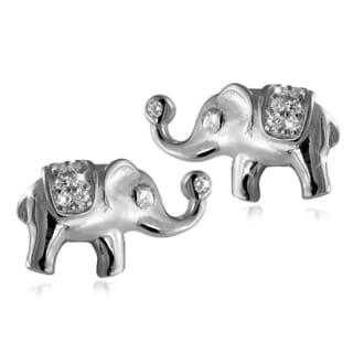 Sterling-silver White Topaz Elephant Stud Earrings