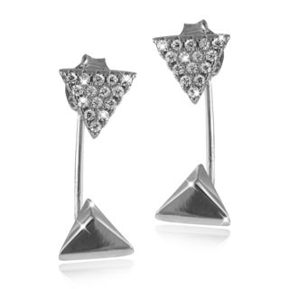 Sterling Silver Cubic Zirconia Pyramid and Triangle Drop Jacket Stud Earrings