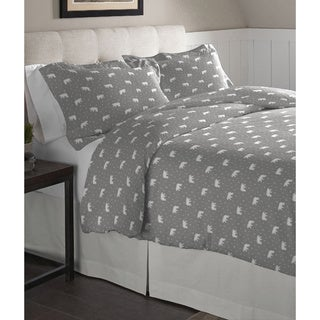 Pointehaven  Polar Bear Cotton Flannel Oversized Duvet Set