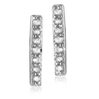 Women's Sterling Silver Clear Created Sapphire Line Stud Earrings