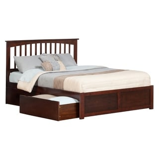 Mission King Platform Bed with Flat Panel Foot Board and 2 Urban Bed Drawers in Walnut