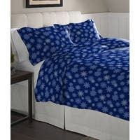 Pointehaven Snowflake Navy Cotton Flannel Oversized Duvet Set