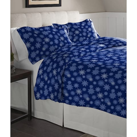Pointehaven Snowflake Navy Cotton Flannel Oversized Duvet Set