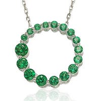 Suzy Levian Sterling Silver Emerald Green Cubic Zirconia Circle Journey Necklace