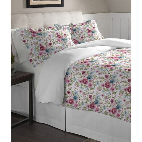 Pointehaven Sylvan Cotton Printed Flannel Oversized Duvet Set - Multi-color