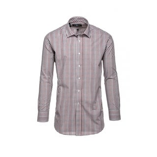 Steve Harvey Men's Brown and White Cotton and Polyester Plaid Dress Shirt