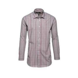 Steve Harvey Men's Brown and White Cotton&Polyester Plaid Dress Shirt|https://ak1.ostkcdn.com/images/products/12777107/P19550898.jpg?impolicy=medium