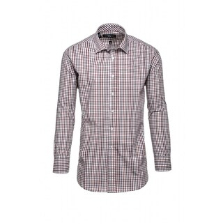 Steve Harvey Men's Brown and White Cotton&Polyester Plaid Dress Shirt