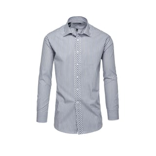 Steve Harvey Men's Blue Cotton/Polyester Striped Dress Shirt
