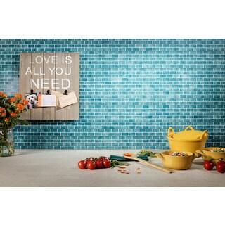 Quartz Blue Glass Glossy Mosaic Tile