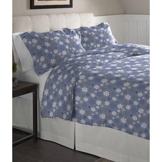 Pointehaven Snowflakes Blue Cotton Flannel Duvet Set