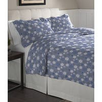 Pointehaven  Snowflakes Blue Cotton Flannel Duvet Set