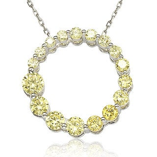 Suzy Levian Sterling Silver Yellow Cubic Zirconia Circle Journey Necklace