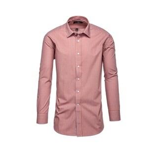 Steve Harvey Burgundy/Grey Cotton&Polyester Plaid Dress Shirt