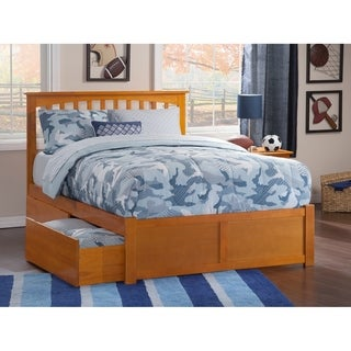 Mission Queen Platform Bed with Flat Panel Foot Board and 2 Urban Bed Drawers in Caramel
