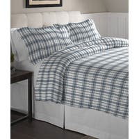 Pointehaven  Blue Plaid Printed Cotton Flannel Duvet Set