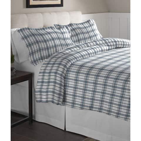 Pointehaven Blue Plaid Printed Cotton Flannel Duvet Set - Multi-color
