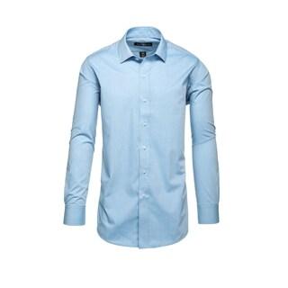 Steve Harvey Light Blue Polyester Blend Birdseye Textured Dress Shirt