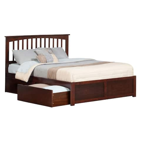 Mission Queen Platform Bed with Flat Panel Foot Board and 2 Urban Bed Drawers in Walnut