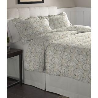 Pointehaven Paisley Printed Cotton Flannel Duvet Set - Multi-color