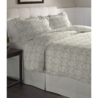Pointehaven Paisley Printed Cotton Flannel Duvet Set
