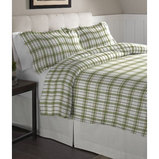 Pointehaven Sage Plaid Printed Cotton Flannel Duvet Set