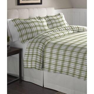 Pointehaven Sage Plaid Printed Cotton Flannel Duvet Set