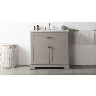 Legion Furniture Warm Grey Wood with Quartz Top 36-inch Sink Vanity (No Faucet)