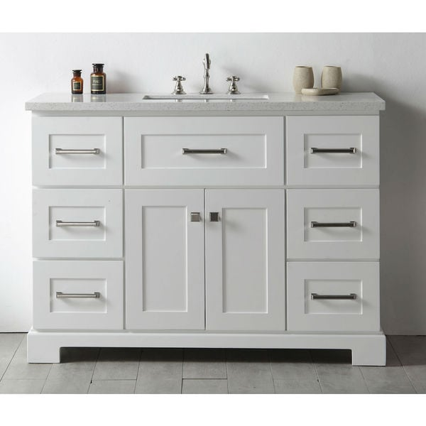 Shop Legion Quartz Top White 48-inch Single Bathroom ...