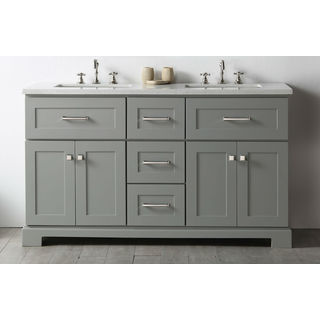 Legion Furniture Cool Grey Wood 60-inch Vanity With 1-piece Quartz Sink