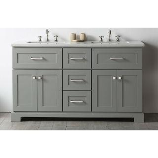 Legion Furniture Cool Grey Wood 60-inch Double Sink Bathroom Vanity