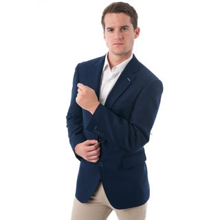 Men's Dark Navy Blue Wool and Polyester Classic Fit Blazer