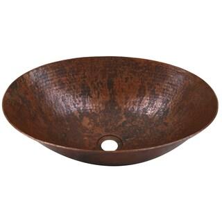 Unikwities 17-inch x 12-inch x 5-inch Oval Sierra Fired Copper-finish Vessel Sink