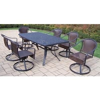 7-piece Outdoor Dining Set, with 6 Resin Wicker Swivel Chairs