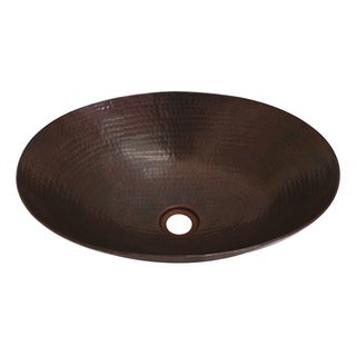 Unikwities 17 X 12 X 5 inch Oval Vessel Copper Sink in Bronze Finish