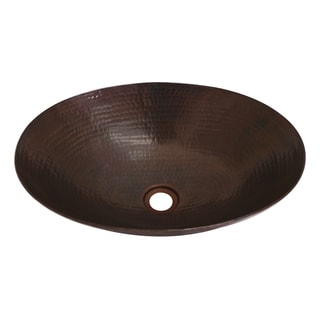Unikwities Oil-rubbed Bronze Copper 17-inch x 12-inch x 5-inch Minweight 4-pound 6-ounce Oval Vessel Sink