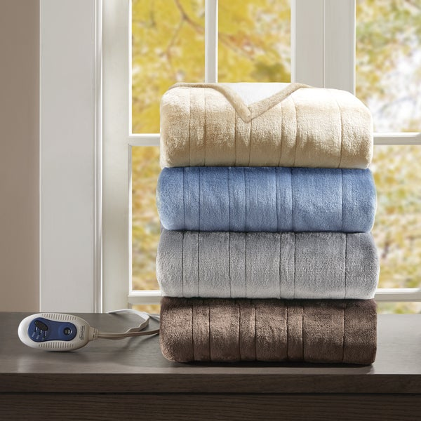 Beautyrest Heated Plush to Berber Snuggle Wrap 4-Color Option