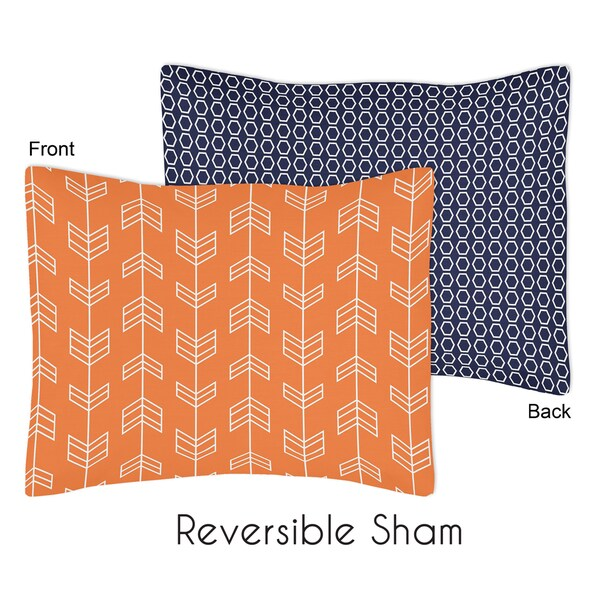 Orange and Navy Blue Arrow Collection Standard Pillow Sham by Sweet Jojo Designs