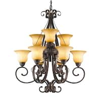 Golden Lighting 7116-9 LC Mayfair Bronze Steel 2-tier 9-light Chandelier