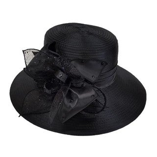 Black Satin/Rhinestone Ribbon Bow-feathered Dress Hat