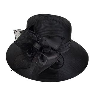 Black Satin/Rhinestone Ribbon Bow-feathered Dress Hat