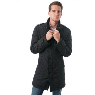 Verno Fashion Mens' Black Polyester Quilted Car Coat