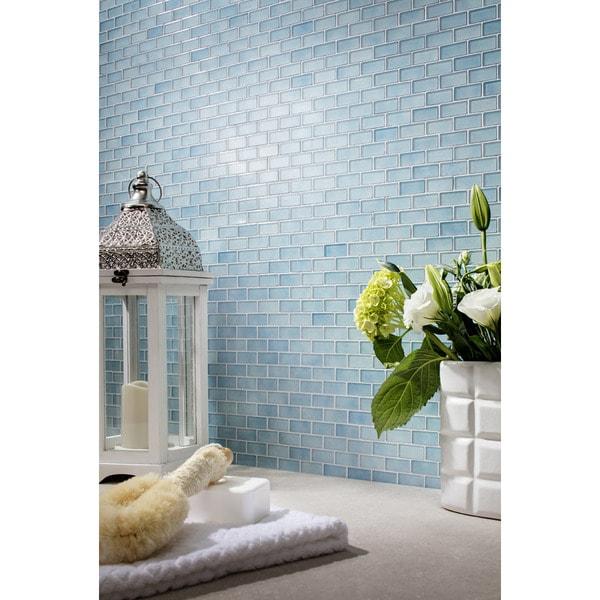 Shop Quartz Blue Glass Mosaic Tile Pack Of 5 Free