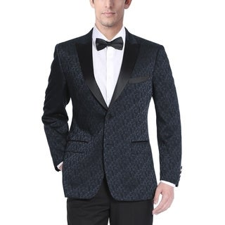 Men's Navy Blue Polyester/Rayon Textured Tuxedo Jacket with Satin Peak Lapel