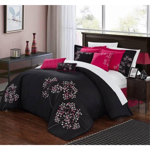 Chic Home Petunia Balck 12-Piece Bed in a Bag Comforter Set