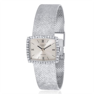 Pre-Owned Patek Philippe Ladies' 3353/1 18k White Gold and Diamonds Dress Mechanical Watch