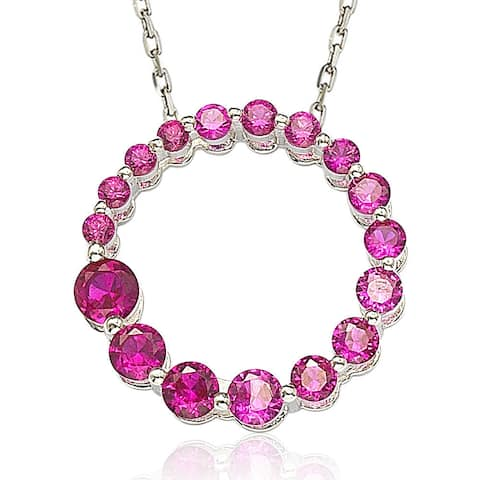 Suzy Levian Sterling Silver Ruby Red Cubic Zirconia Circle Journey Necklace