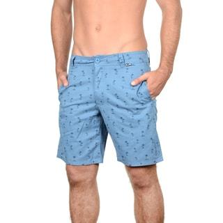 Maui and Sons Men's Blue/Grey Cotton Palm Beat Short