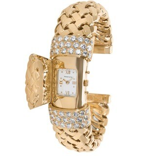 Pre-Owned Tiffany & Co. Cuff Ladies Watch in 18K Yellow Gold and Diamonds